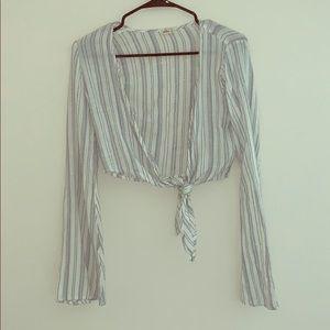Hollister front tie bell sleeve top